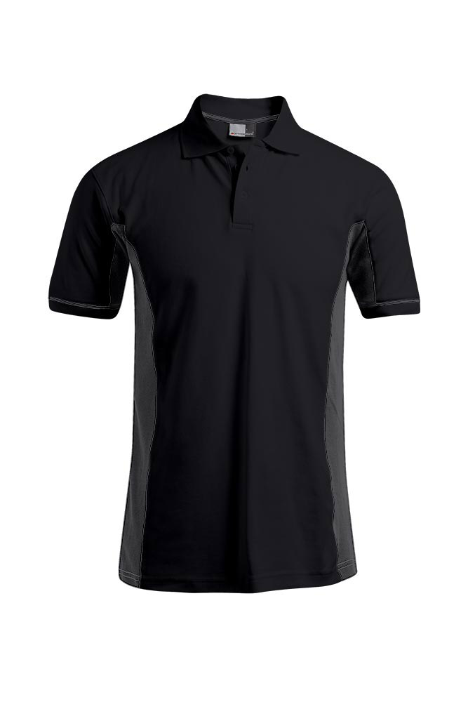 Polo fonctionnel grande taille Hommes, graphite - jaune fluo